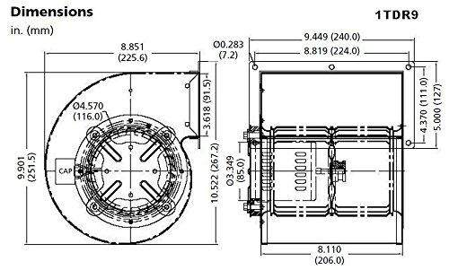 Dayton Model 1TDR9 Blower 463 CFM 1600 RPM 115V 60/50hz