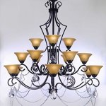 SWAROVSKI-CRYSTAL-TRIMMED-CHANDELIER-WROUGHT-IRON-CHANDELIER-WITH-CRYSTAL-H51-x-W49-PERFECT-FOR-AN-ENTRYWAY-OR-FOYER-0