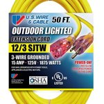 US-Wire-74050-123-50-Foot-SJTW-Yellow-Heavy-Duty-Lighted-Plug-Extension-Cord-0