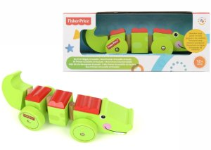 Fisher Price Wooden Crocodile on Wheels Comaco Toys Direct