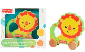 Fisher Price Wooden Lion on Wheels Comaco Toys Direct