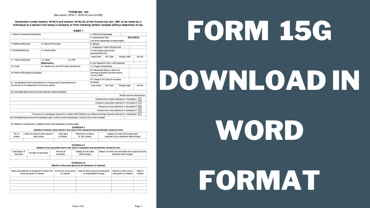 Form 15G Download In Word Format