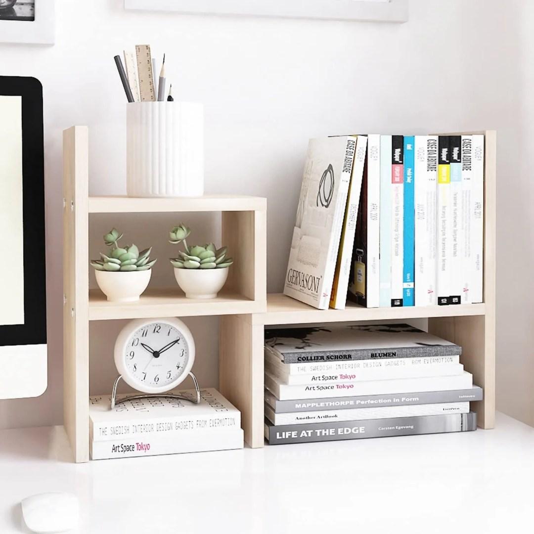 Jerry & Maggie - Desktop Organizer Office Storage Rack Adjustable Wood Display Shelf