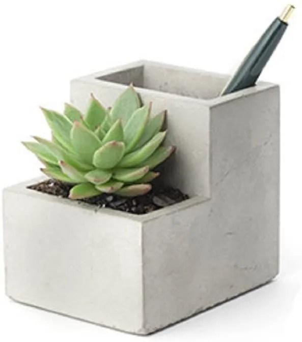 Kikkerland Concrete Desktop Planter home office plants