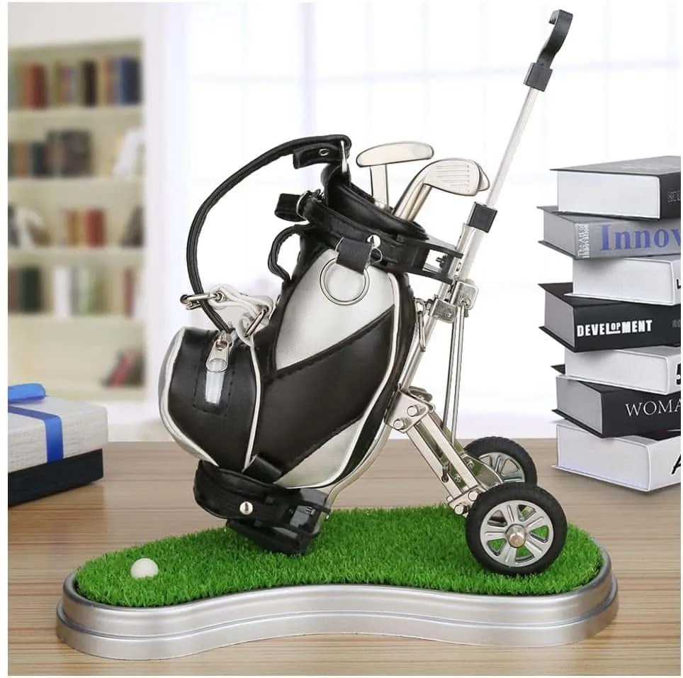 Golf Pens with Golf Bag Holder,Novelty Gifts - best office decor ideas for him