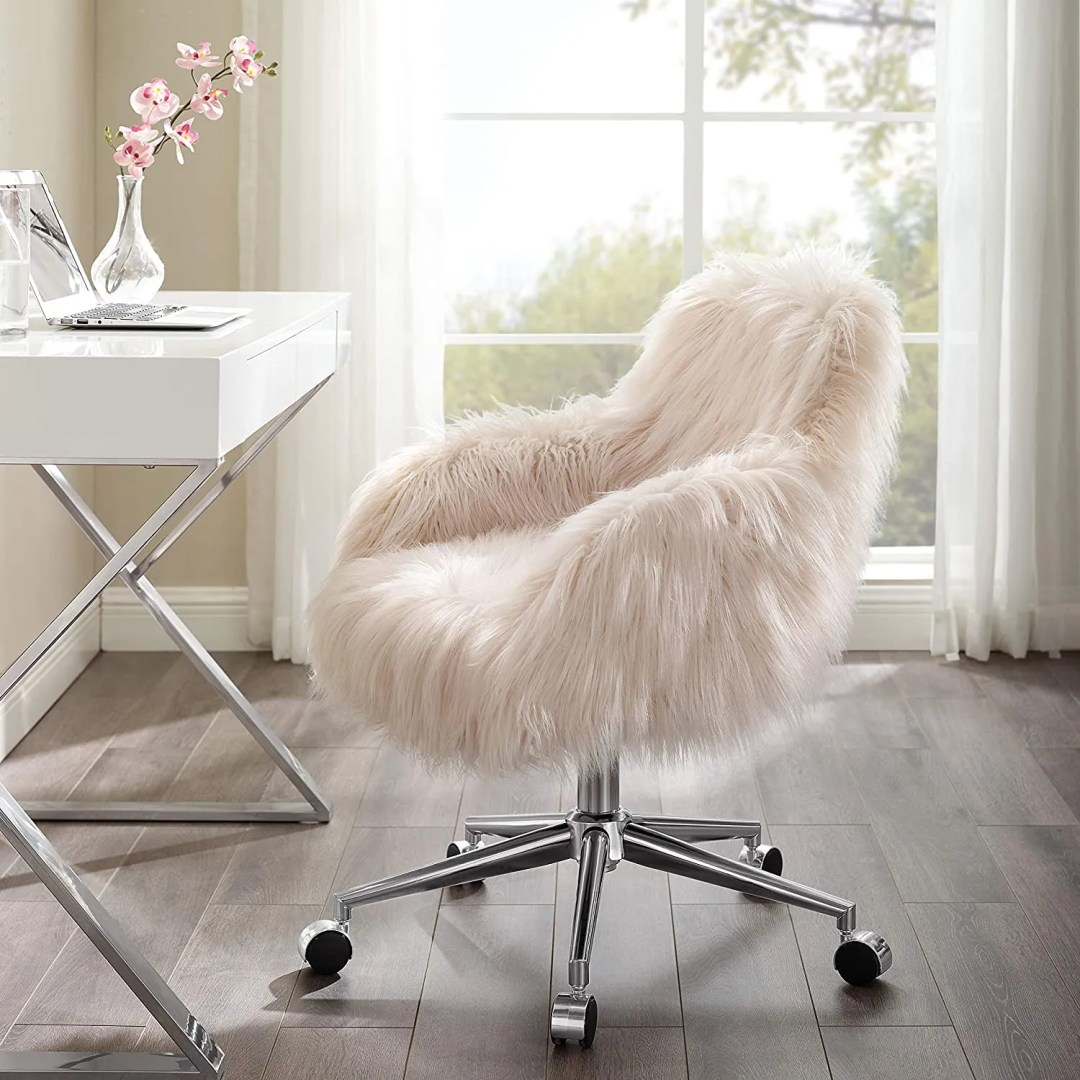 Linon Fiona Chrome Base Office Chair