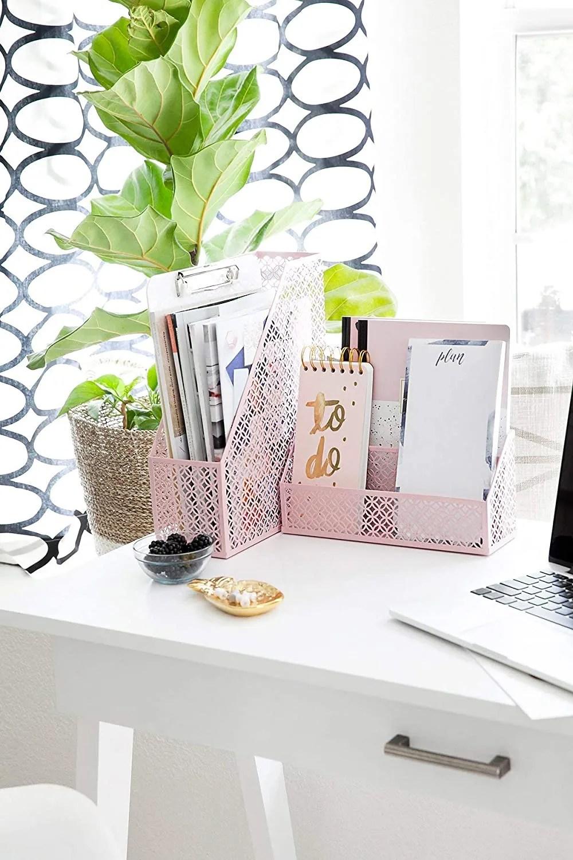Office Supplies Pink Desk Accessories - modern office decor ideas