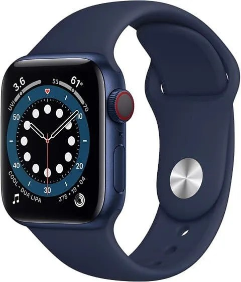 New Apple Watch Series 6 (GPS + Cellular, 40mm) - Blue Aluminum Case with Deep Navy Sport Band