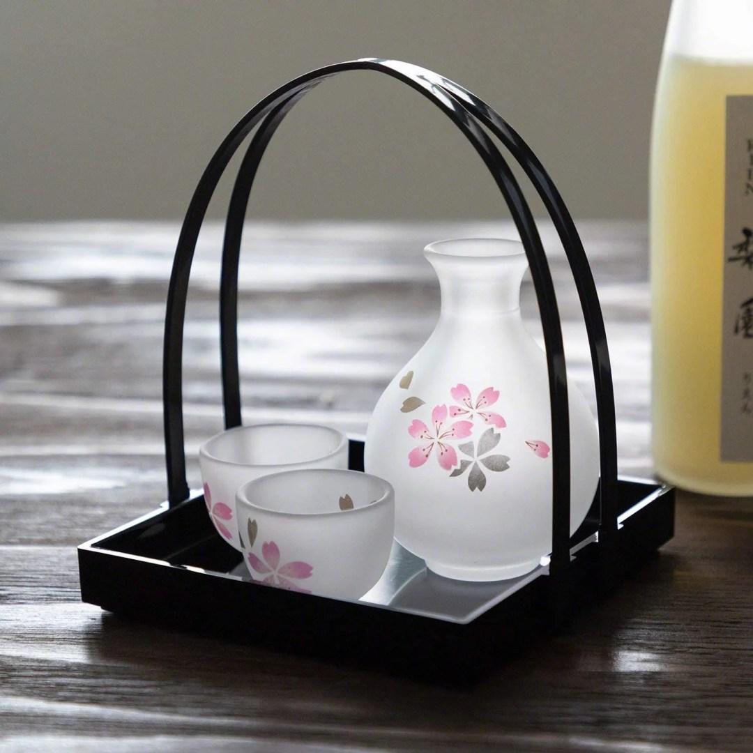 Wazakura Handmade Japanese Sake Serving Glass Set with Tray, Cherry Blossom Sakura Design