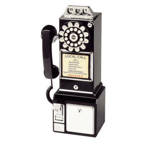 Crosley 1950's Classic Pay Phone-Model CR56-BK-Black