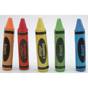 Crayon Erasers Five Colors 36 Count