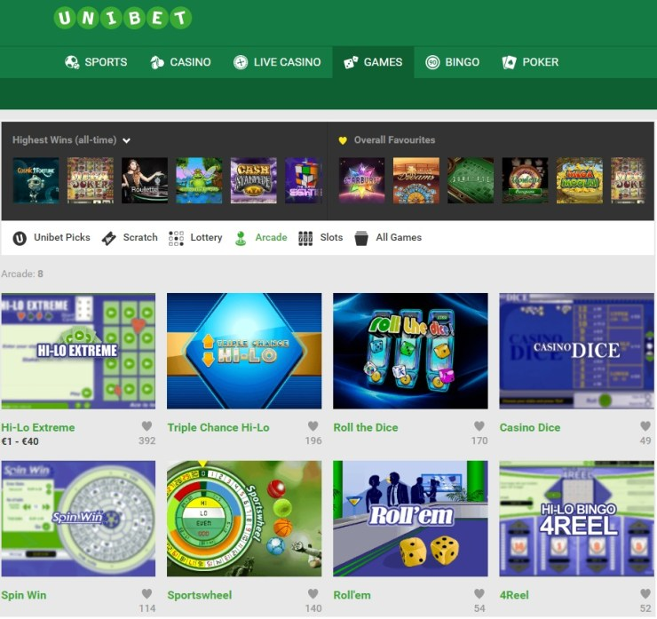 Unibet Arcade Games - משחקי מיומנות