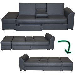 Folding Bed Sofa Set Deep Seat Tufted Cairo Faux Leather Couch