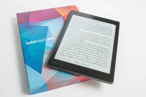 black kobo aura one tablet with box
