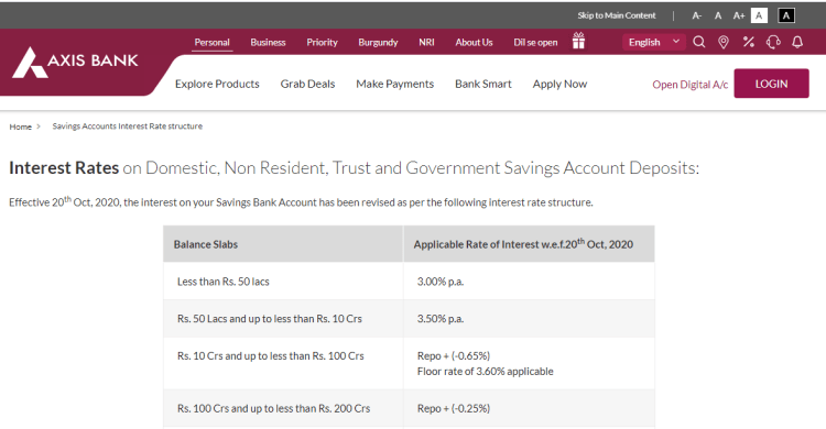 axis bank savings account interest rate