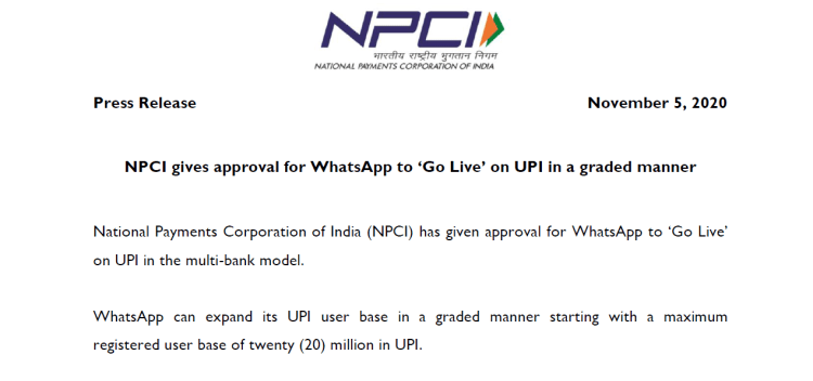 NPCI'A approval order for whatsapp UPI payment