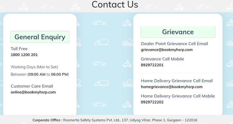 Delhi and UP HSRP Customer care number and email for query and complaint, Home delivery grievances