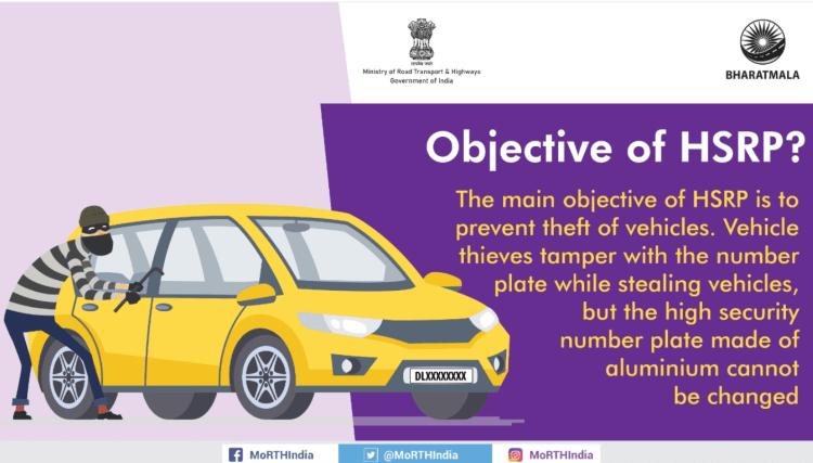 Objective of HSRP plate and color sticker