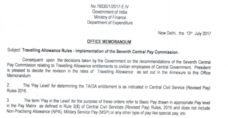 TA order to central Govt. employees in 7th cpc