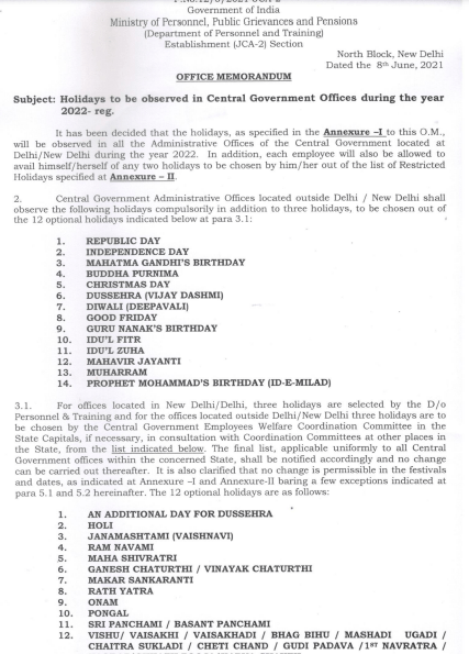 Year 2022 Public, Gazetted, Restricted, Optional Holidays list