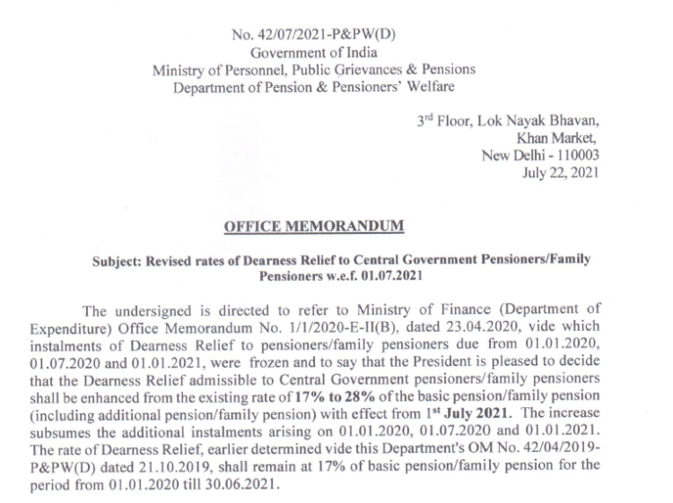 DA hike order for central govt. employees and pensioners from 1st July 2021 by DoPPW
