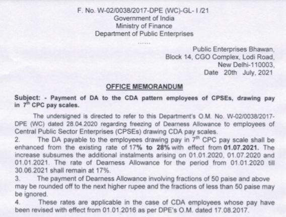 DA hike order for CDA based CPSEs from 1st July 2021