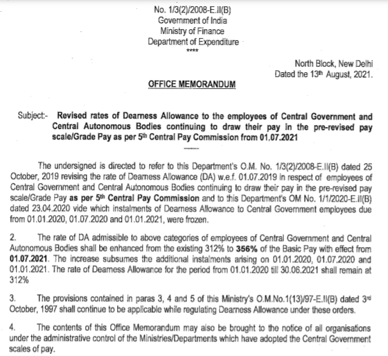 DA hike order for central govt. employees and pensioners of 5th Pay from 1st July 2021