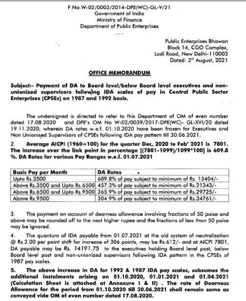 IDA revised order for 1987 and 1992 pay wef 1st July 2021 by DPE