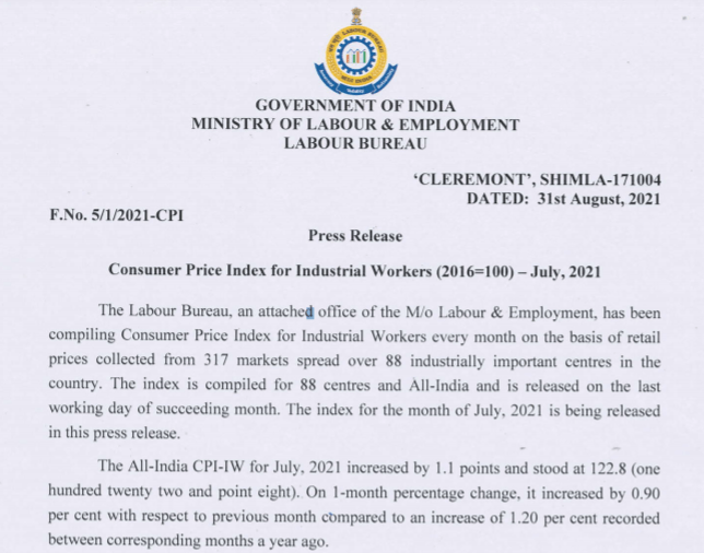 July 2021  AICPIN - IW (All-India Consumer Price Index - Industrial Workers)