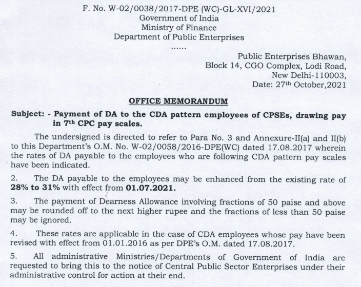 Revised DA hike for CDA pattern employees of CPSEs in 7th pay scales from 1st July 2021