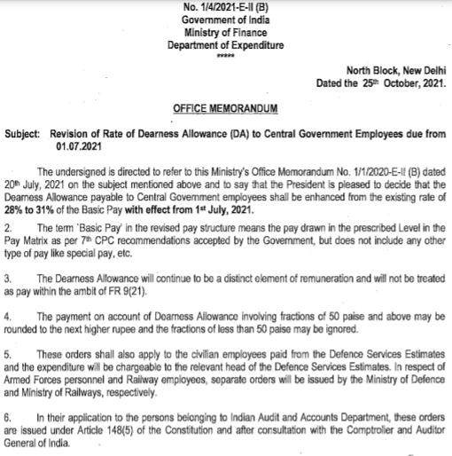 Revised DA order for central govt employees from 1st July 2021