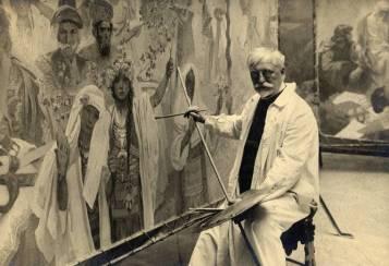 autorretrato de Mucha en su estudio de Bohemia,Onlyartravel