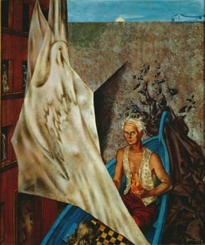 Dorothea-Tanning-Max-in-a-Blue-Boat-1947-Max-Ernst. Onlyartravel