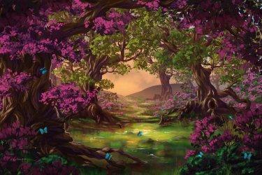 forest digital fantasy land purple trees painting summer landscape glade favim tree живопись paintings google anime pond wallpapers deviantart desktopnexus