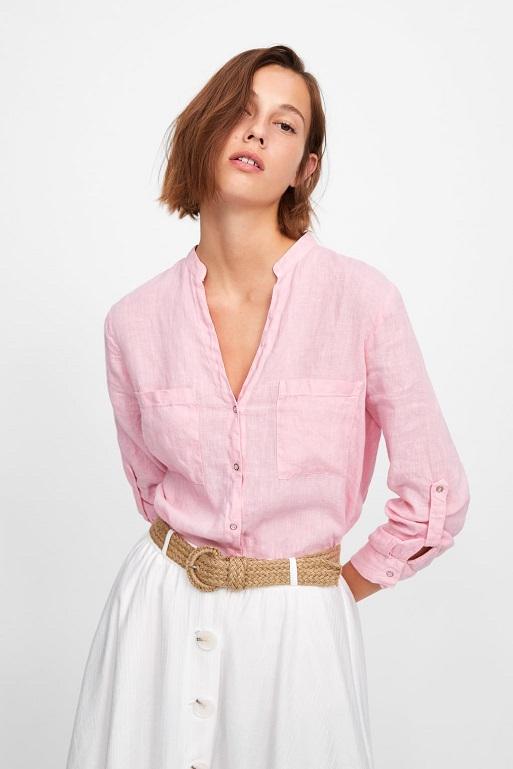 chemise et jupe en lin zara 2019
