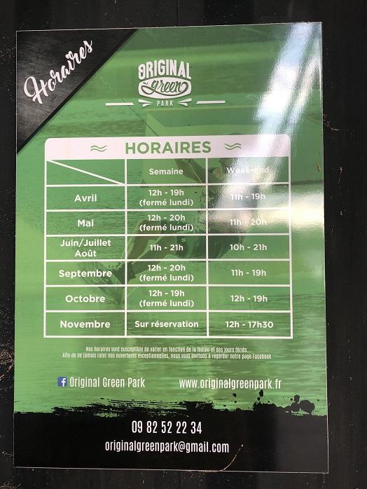 horaires originalgreenpark - Paddle à Toulouse : Découverte de la Base Nautique OriginalGreenPark !