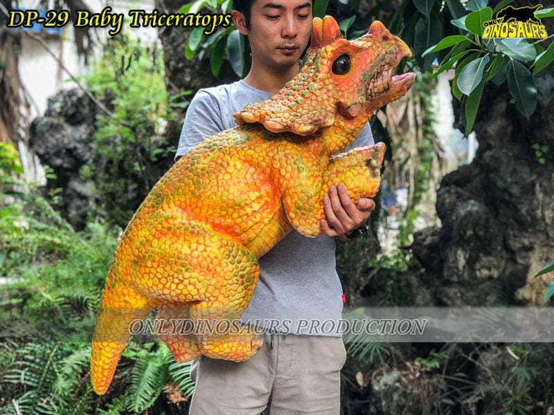 DP 29 Realistic Baby Dinosaur Puppet Triceratops