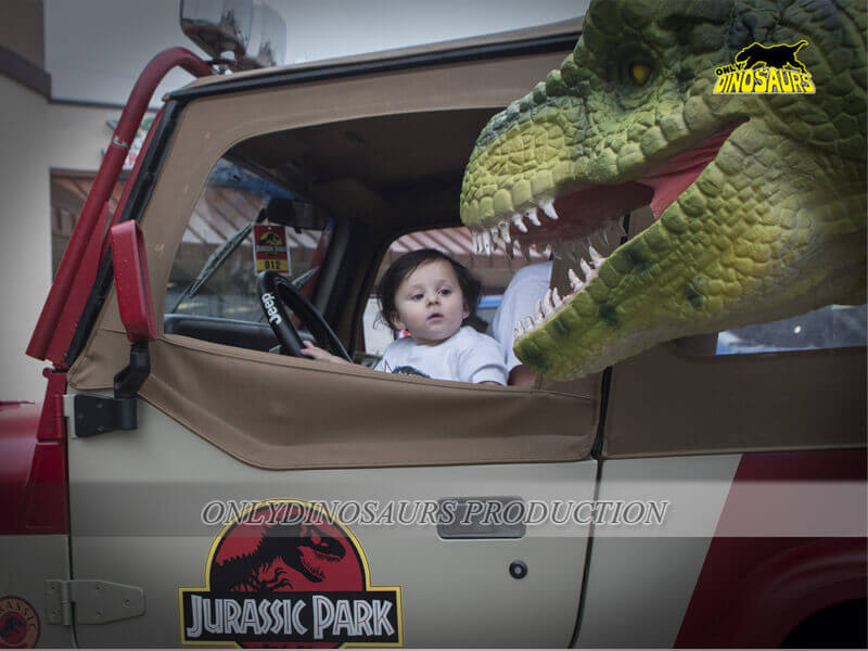 Realistic T Rex Costume Playing with Kids 2
