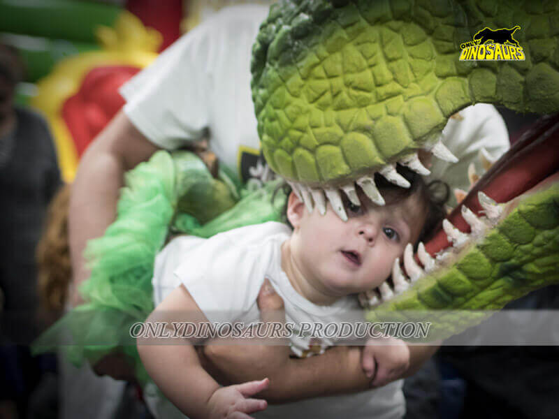 T Rex Costume Playing with Kids 2