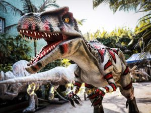 Animatronic Allosaurus dinosaur for Theme Park White & Red