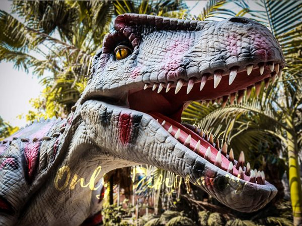 Animatronic Allosaurus dinosaur for Theme Park White & Red5