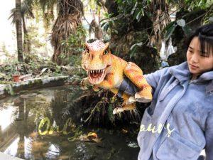 Baby T-Rex Puppet with Orange Stripe