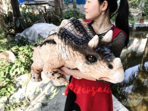 Customized Baby Dinosaur Puppet with Black Stripe