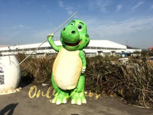 Cute Cartoon Dinosaur Costume in Green Color