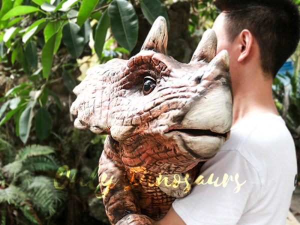 Dinosaur Party Artificial Baby Dinosaur Puppet Triceratops Dark Brown7 1