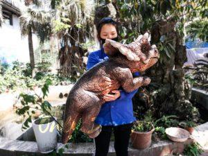 Emulational Baby Dinosaur Puppet Triceratops for Park Dark Brown
