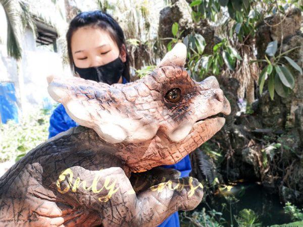 Emulational Baby Dinosaur Puppet Triceratops for Park Dark Brown2 1