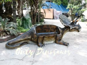 Fiberglass Triceratops Dinosaur Chair for Amusement Park