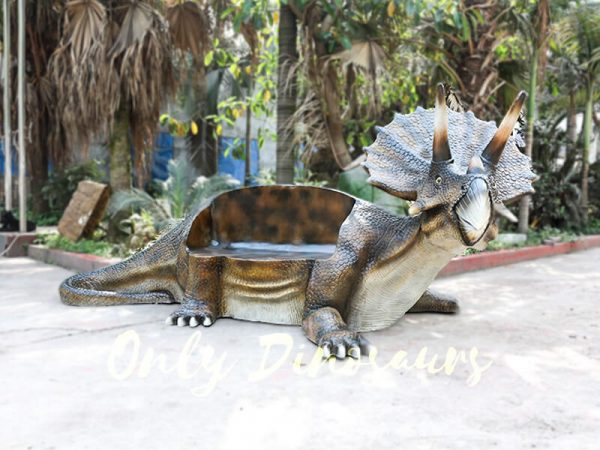 Fiberglass Triceratops Dinosaur Chair for Amusement Park4 1