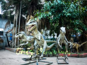 Full Size Fiberglass Dinosaur Velociraptor in Group